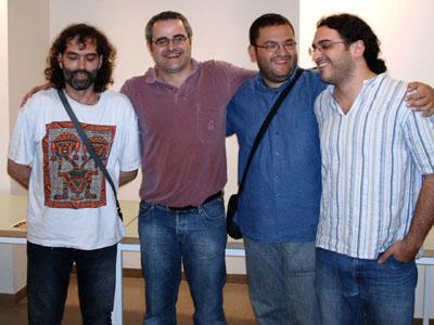 Els quatre finalistes durant l'entrega de premis. D'esquerra a dreta: Xavier Giol, Jordi Torra, Ramon Torres i Valentí Rossell