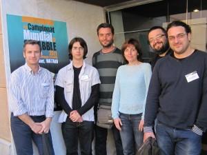Delegació del Club Scrabble Manresa: Àlex Abad, Eric Olmedo, Joan Montané, Muntsa Clotet, Ramon Torres i Valentí Rossell